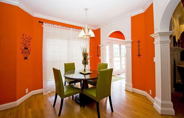 Fall White Pumpkins Wallpaper Modern Dining Room Decorating Ideas Orange Paint Colors