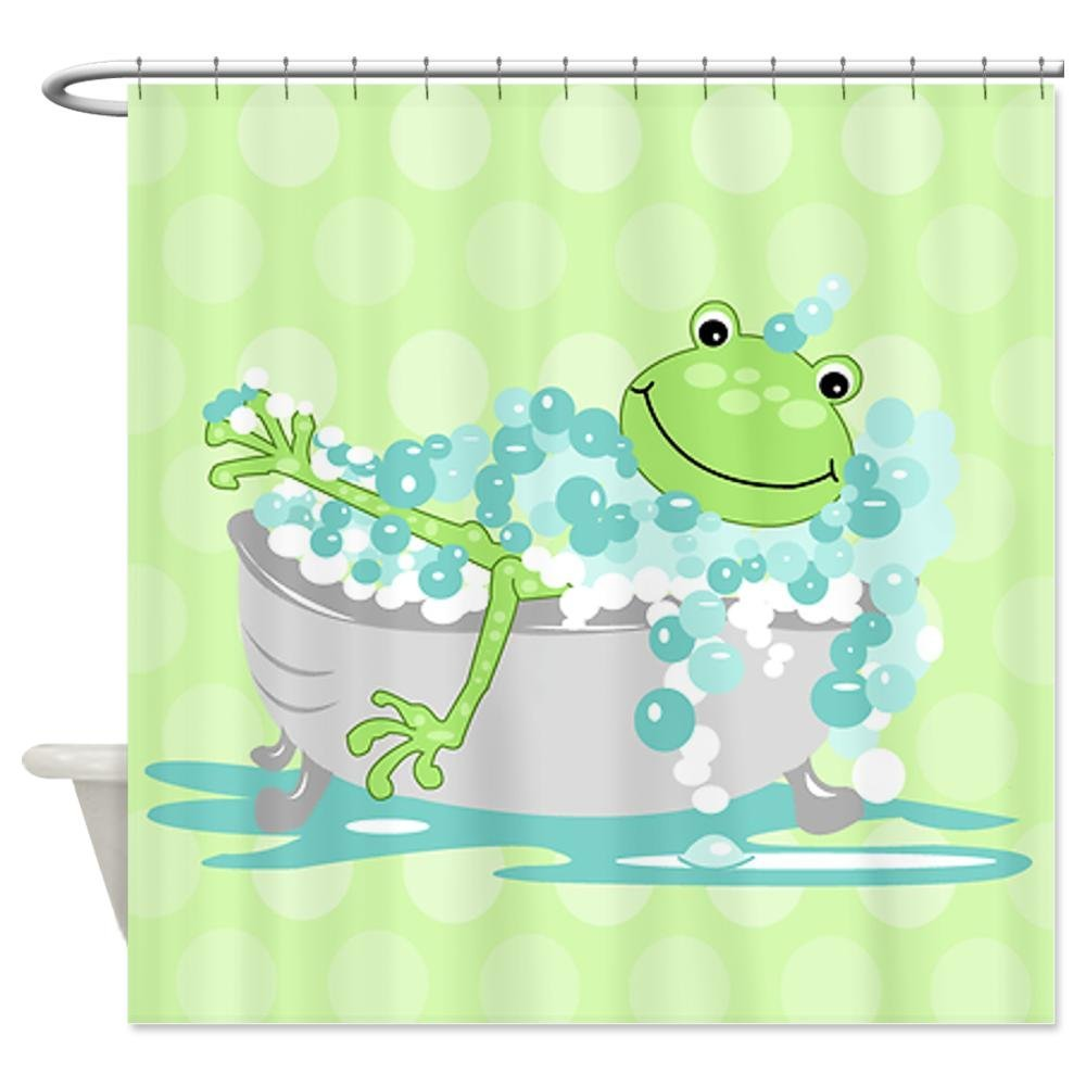 Cute frog in tub shower curtain