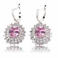 Earrings Silver Plated Pink Cubic Zirconia