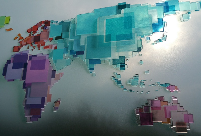 Geographical World Map 3D Optographix Signage Luximprint