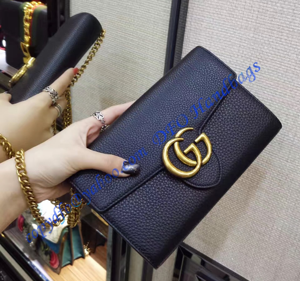 gucci gg marmont black leather mini chain bag