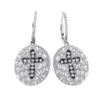 Hammered 18K White Gold Diamond Cross Dangle Earrings
