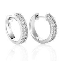 Women's 14K White Gold Diamond Hoop Earrings AER-5634W