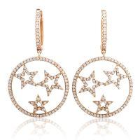 Women's 18K Rose Gold Diamond Stars Dangle Earrings CED9162