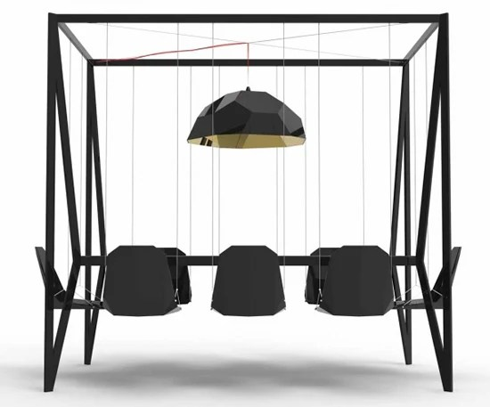 Swing Table With Hanging Chairs Blends Playtime With
