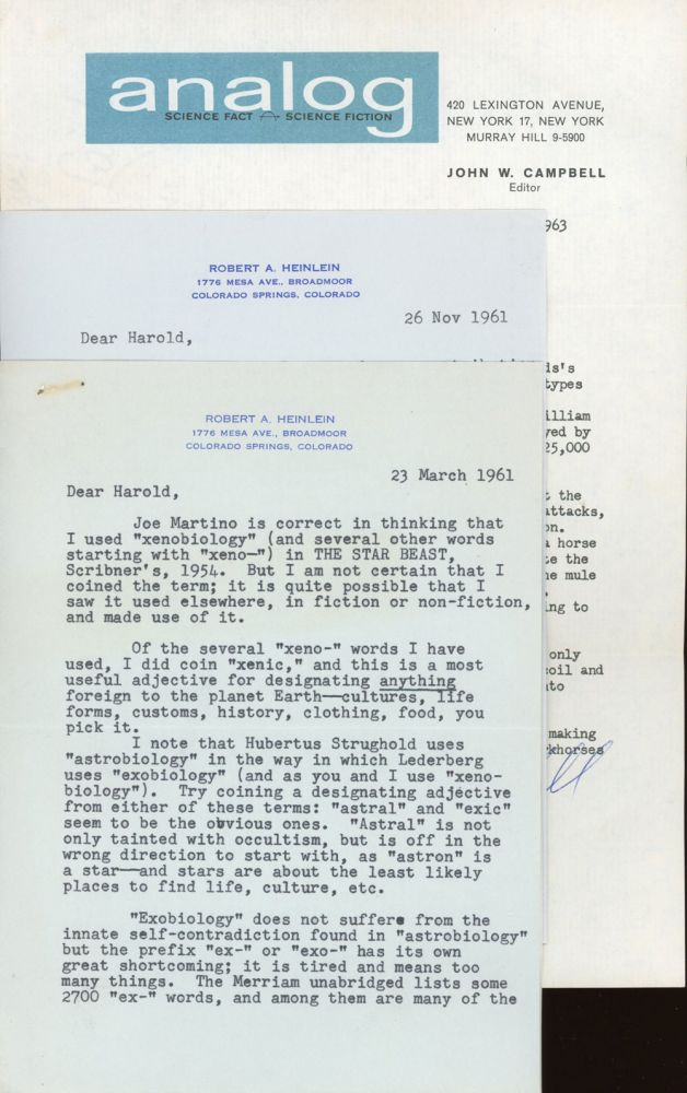 TWO TYPEWRITTEN LETTERS SIGNED TLsS , two pages, dated 23 March 1961