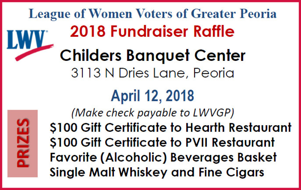 Fundraiser / Raffle - LWVGP League of Women Voters of Greater Peoria