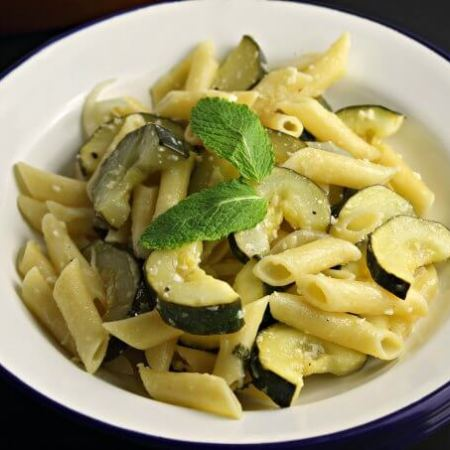 Penne with Zucchini and Mint ~ I Heart Cooking Clubs Potluck ~ inspired by Ellie Krieger ~ Lydia's Flexitarian Kitchen