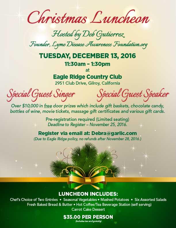 Christmas luncheon at Eagle Ridge Country Club, Gilroy Ca Lyme - christmas luncheon flyer