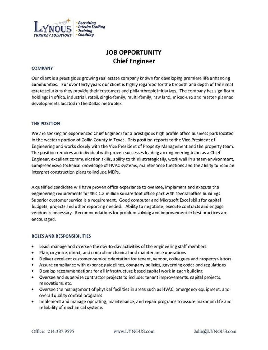 chief engineer sample resume accounts payable administrator sample sample resume for mechanical construction engineer builder final chief engineer lynous pls call 2143879595 page 1