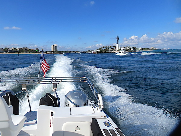 Leaving Hillsboro Inlet in our wake during sea trial.