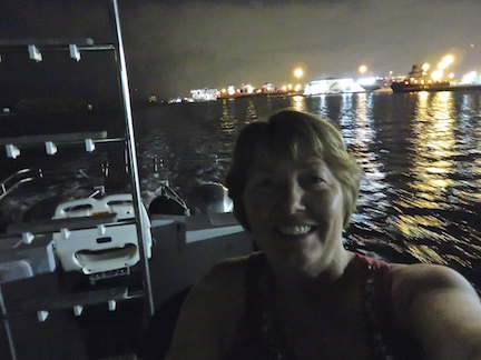 Karen takes a selfie with Port Everglades in the background.