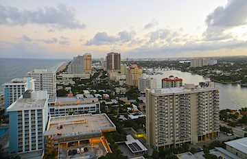 The ICW from high atop the W in Ft. Lauderdale.