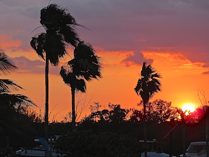 Sunset over the guest docks in Dania.