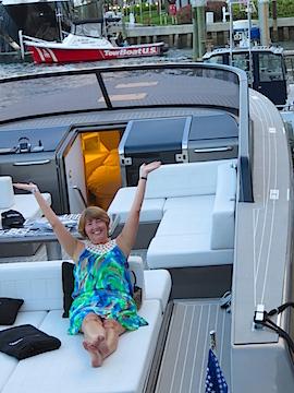 Karen lounges on a Van Dutch Yacht.