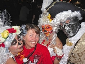 Karen vamps with the dead prior to marching in the parade.