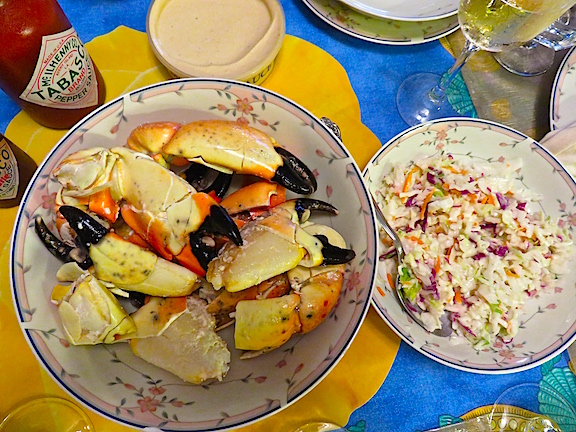 A bowl of Florida's finest, large stone crab claws.