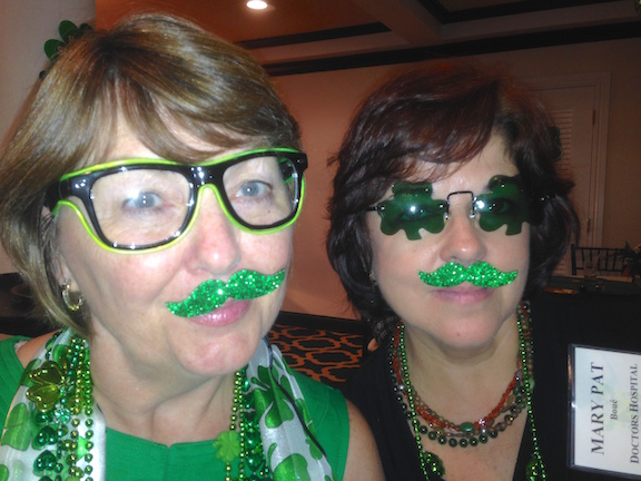 Karen and Mary don the green for grins.