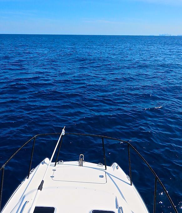 The best view on Lyonsroar is from the hard top in open ocean.