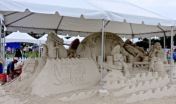 The event was miles from the beach, but the sand sculptures were still very cool.