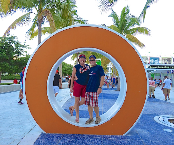 Karen and I pose outside Marlins park before entering to watch the ballgame.