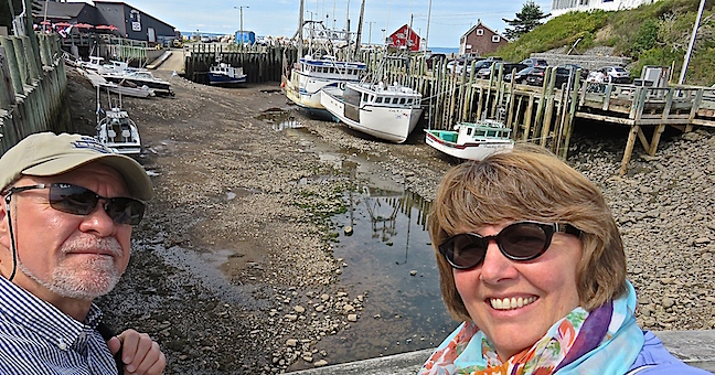 American privateer Samuel Hall raided settlements in the Annapolis Valley around 1779 from this cove. We timed our arrival at Halls Harbour to coincide with low tide. The water had dropped 45-feet and left all the boats high and dry.