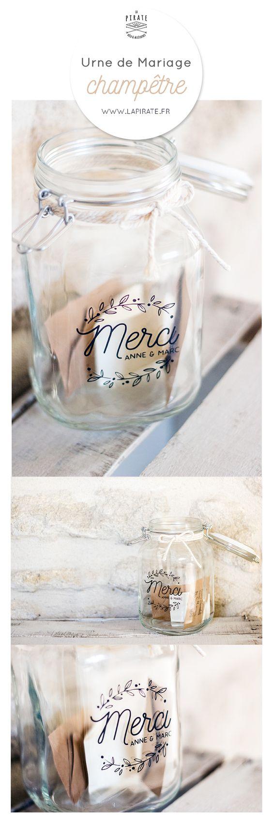 urne de mariage champêtre en verre