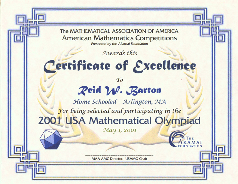 Awards for the AMC 10/AMC 12 Contests, AIME  USAMO Examinations