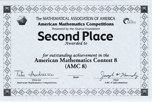 Awards for the AMC 10\/AMC 12 Contests, AIME \ USAMO Examinations - first place award template