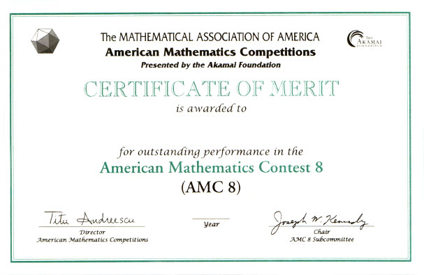 Awards for the AMC 10/AMC 12 Contests, AIME  USAMO Examinations