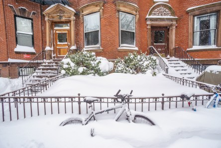 boston blizzard vélos sous la neige
