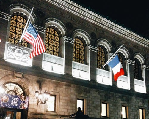 Boston Public Library French Flags