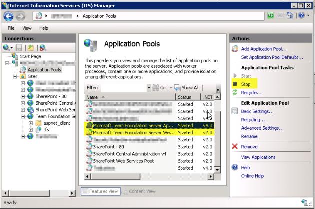 2 Stop TFS Application Pools