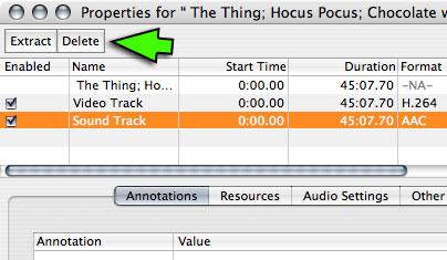 how to delete audio track vlc
