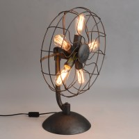 Industrial Fan Table Lamp  Macer Home Decor