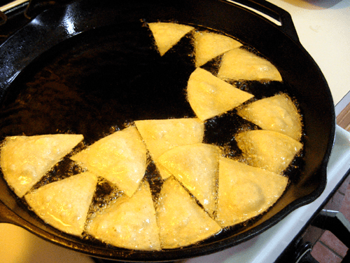 Frying chips for doritos