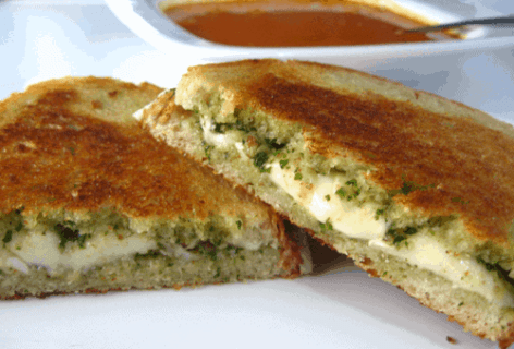 Pesto and Brie Grilled Cheese