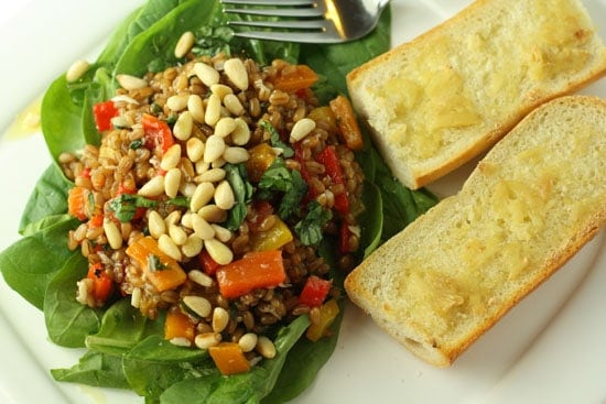 Wheat Berry Salad with Roasted Peppers