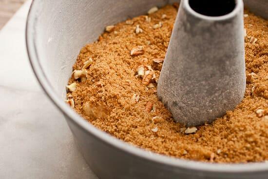 Coffee coffee cake streusel layer.