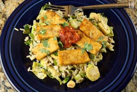 Seared Tofu with Sprouts