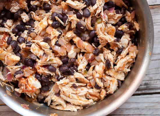 Shredded chicken filling