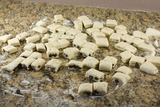 pieces of dough for Chocolate Chip Monkey Bread