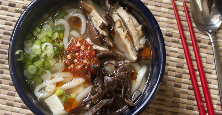 Mushroom and Tofu Noodle Bowl