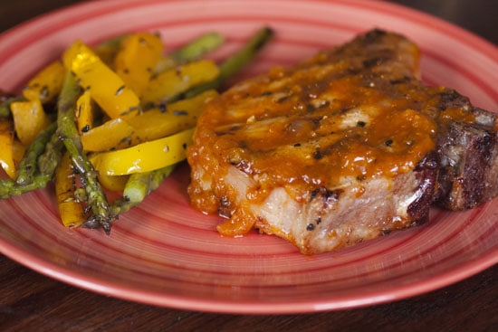 pork topped with Apricot BBQ sauce