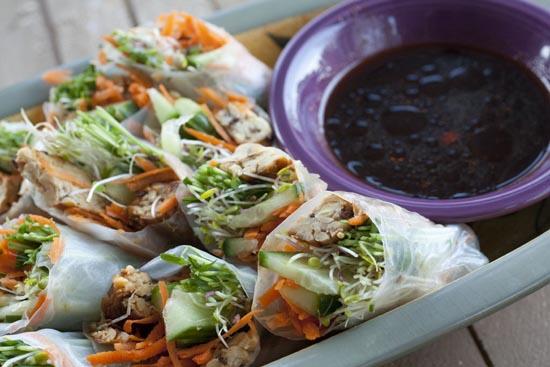 Tempeh Spring Rolls recipe from Macheesmo