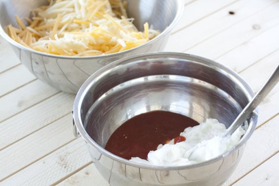 yogurt layer in Baked Queso Dip