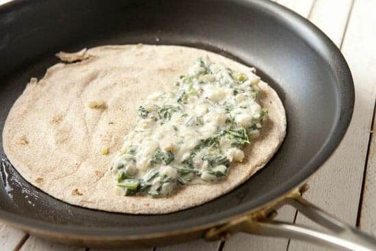 Making a Greek Quesadilla