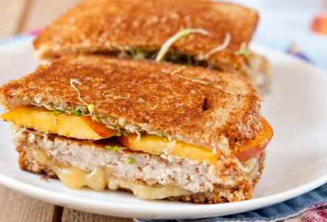 Sausage and Fresh Peach Sandwich