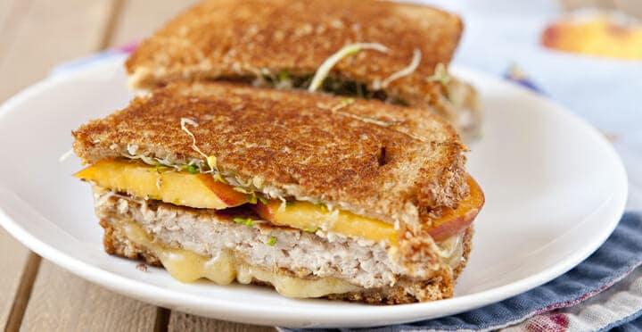 Sausage and Fresh Peach Sandwich