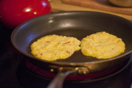 A few minutes per side for perfect Apple Hoecakes.